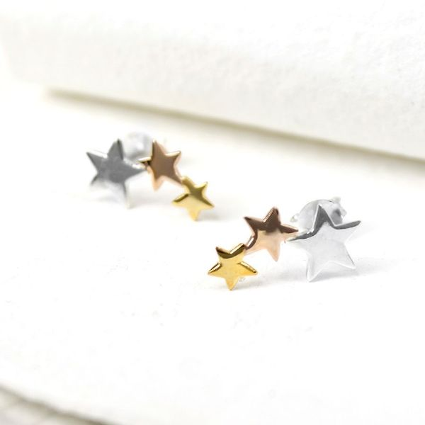 Wedding jewellery - silver, gold & rose gold star cluster earrings